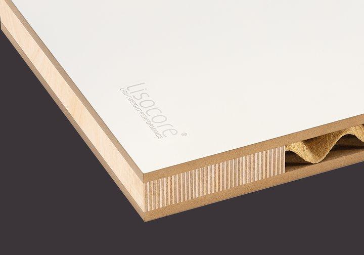 Leichtbauplatte Lisocore MDF mit Grundierfolie u.  Multiplexriegeln